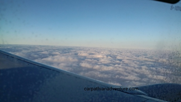 Cloud layer through airplane window