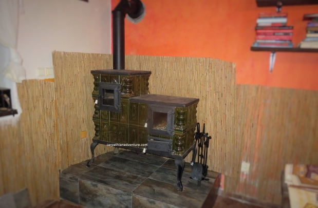 New green ceramic wood stove